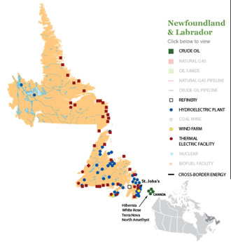 Newfoundland and Labrador Natural Resource Map
